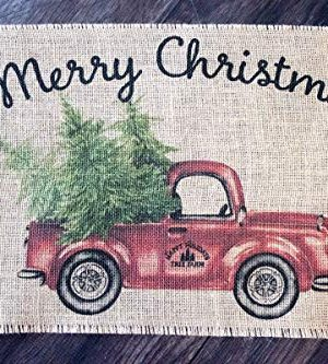 Vintage Red Truck Merry Christmas Burlap Table Runner 0 300x333