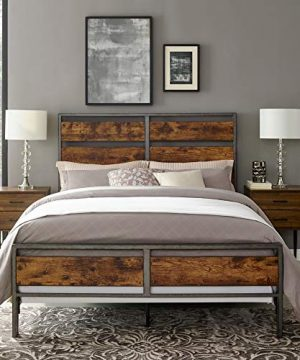 Walker Edison Furniture Company Plank Metal Queen Size Bed Frame Bedroom Brown Reclaimed Wood 0 0 300x360