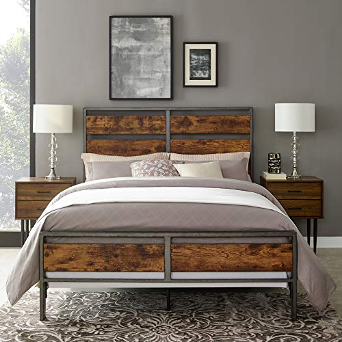Walker Edison Furniture Company Plank Metal Queen Size Bed Frame Bedroom Brown Reclaimed Wood 0 0