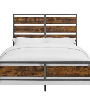 Walker Edison Furniture Company Plank Metal Queen Size Bed Frame Bedroom Brown Reclaimed Wood 0 2 300x360