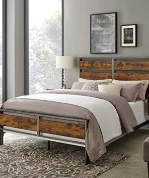 Walker Edison Furniture Company Plank Metal Queen Size Bed Frame Bedroom Brown Reclaimed Wood 0 300x360