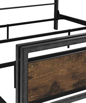 Walker Edison Furniture Company Plank Metal Queen Size Bed Frame Bedroom Brown Reclaimed Wood 0 4 300x360