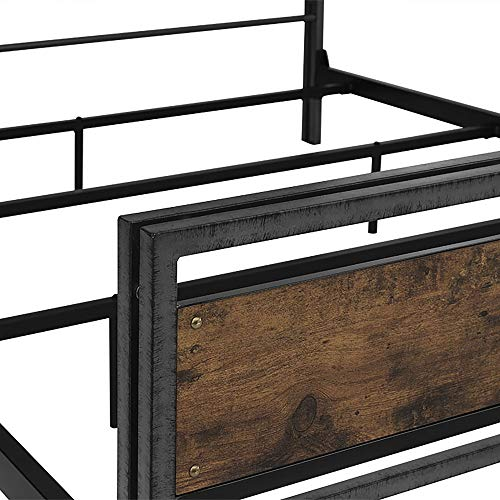 Walker Edison Furniture Company Plank Metal Queen Size Bed Frame Bedroom Brown Reclaimed Wood 0 4