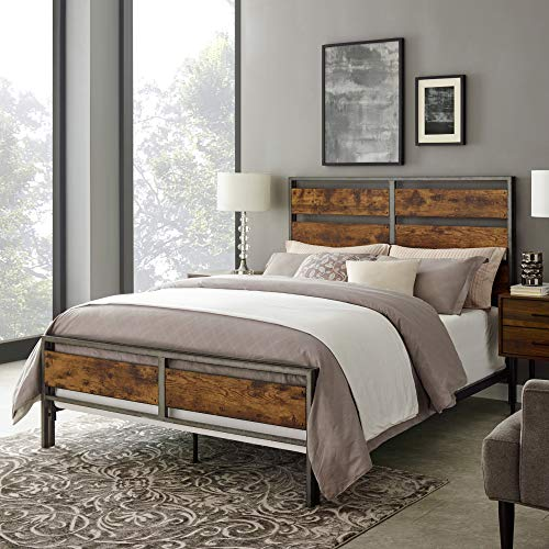 Walker Edison Furniture Company Plank Metal Queen Size Bed Frame Bedroom Brown Reclaimed Wood 0