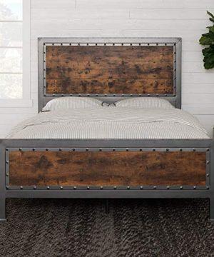 Walker Edison Furniture Company Rustic Farmhouse Queen Metal Headboard Footboard Bed Frame Bedroom Reclaimed Brown Wood 0 0 300x360