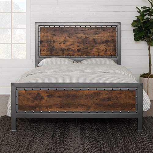 Walker Edison Furniture Company Rustic Farmhouse Queen Metal Headboard Footboard Bed Frame Bedroom Reclaimed Brown Wood 0 0