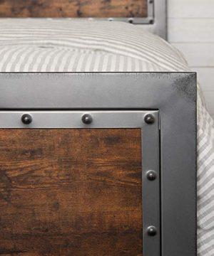 Walker Edison Furniture Company Rustic Farmhouse Queen Metal Headboard Footboard Bed Frame Bedroom Reclaimed Brown Wood 0 1 300x360
