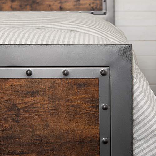 Walker Edison Furniture Company Rustic Farmhouse Queen Metal Headboard Footboard Bed Frame Bedroom Reclaimed Brown Wood 0 1