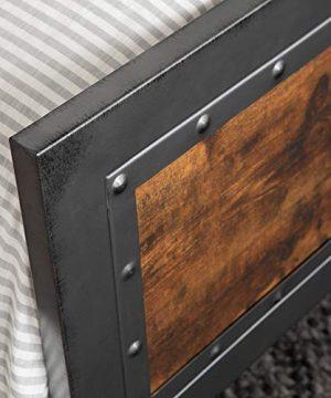 Walker Edison Furniture Company Rustic Farmhouse Queen Metal Headboard Footboard Bed Frame Bedroom Reclaimed Brown Wood 0 2 300x360