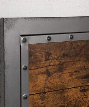 Walker Edison Furniture Company Rustic Farmhouse Queen Metal Headboard Footboard Bed Frame Bedroom Reclaimed Brown Wood 0 3 300x360