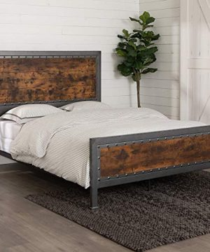 Walker Edison Furniture Company Rustic Farmhouse Queen Metal Headboard Footboard Bed Frame Bedroom Reclaimed Brown Wood 0 300x360