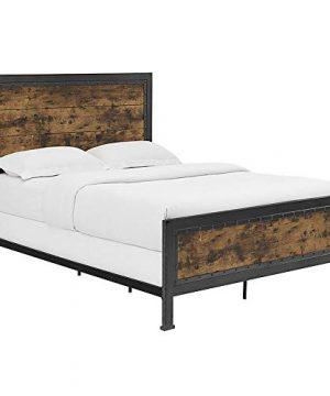 Walker Edison Furniture Company Rustic Farmhouse Queen Metal Headboard Footboard Bed Frame Bedroom Reclaimed Brown Wood 0 4 300x360