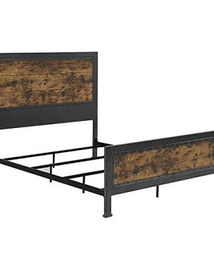Walker Edison Furniture Company Rustic Farmhouse Queen Metal Headboard Footboard Bed Frame Bedroom Reclaimed Brown Wood 0 5 300x360