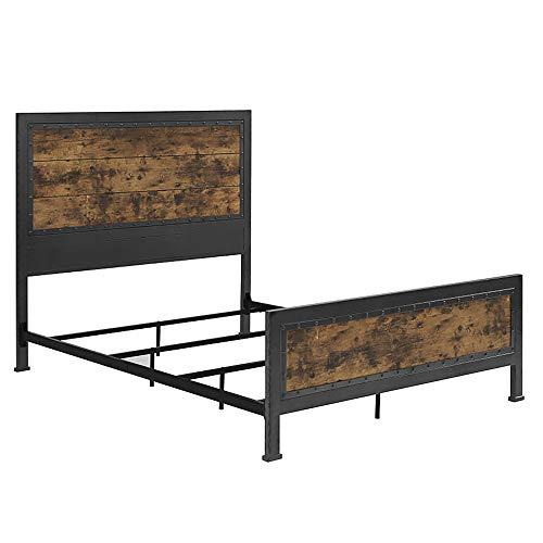 Walker Edison Furniture Company Rustic Farmhouse Queen Metal Headboard Footboard Bed Frame Bedroom Reclaimed Brown Wood 0 5