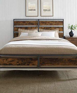 Walker Edison Industrial Plank Metal King Size Headboard Footboard Bed Frame Bedroom Brown Reclaimed Wood 0 0 300x360