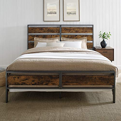 Walker Edison Industrial Plank Metal King Size Headboard Footboard Bed Frame Bedroom Brown Reclaimed Wood 0 0