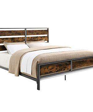 Walker Edison Industrial Plank Metal King Size Headboard Footboard Bed Frame Bedroom Brown Reclaimed Wood 0 1 300x360