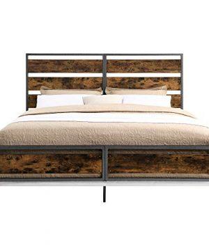 Walker Edison Industrial Plank Metal King Size Headboard Footboard Bed Frame Bedroom Brown Reclaimed Wood 0 2 300x360