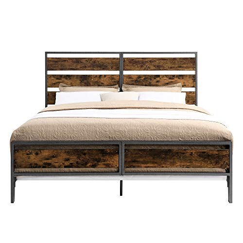 Walker Edison Industrial Plank Metal King Size Headboard Footboard Bed Frame Bedroom Brown Reclaimed Wood 0 2