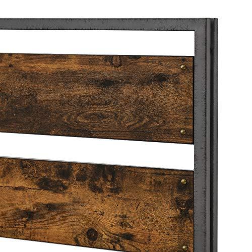 Walker Edison Industrial Plank Metal King Size Headboard Footboard Bed Frame Bedroom Brown Reclaimed Wood 0 3