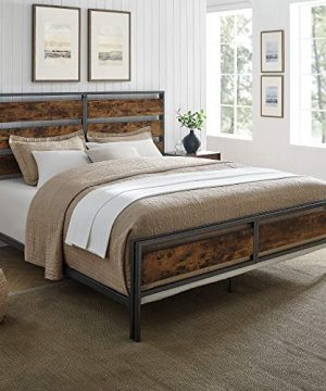 Walker Edison Industrial Plank Metal King Size Headboard Footboard Bed Frame Bedroom Brown Reclaimed Wood 0 300x360