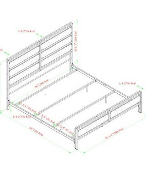 Walker Edison Industrial Plank Metal King Size Headboard Footboard Bed Frame Bedroom Brown Reclaimed Wood 0 4 300x360
