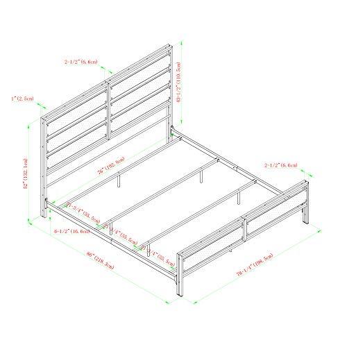 Walker Edison Industrial Plank Metal King Size Headboard Footboard Bed Frame Bedroom Brown Reclaimed Wood 0 4