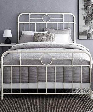 Walker Edison Rustic Farmhouse Wood Queen Metal Headboard Footboard Bed Frame Bedroom White 0 0 300x360