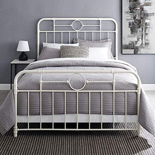 Walker Edison Rustic Farmhouse Wood Queen Metal Headboard Footboard Bed Frame Bedroom White 0 0