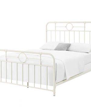 Walker Edison Rustic Farmhouse Wood Queen Metal Headboard Footboard Bed Frame Bedroom White 0 1 300x360