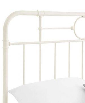 Walker Edison Rustic Farmhouse Wood Queen Metal Headboard Footboard Bed Frame Bedroom White 0 3 300x360