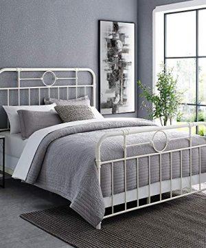 Walker Edison Rustic Farmhouse Wood Queen Metal Headboard Footboard Bed Frame Bedroom White 0 300x360