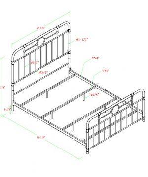 Walker Edison Rustic Farmhouse Wood Queen Metal Headboard Footboard Bed Frame Bedroom White 0 4 300x360