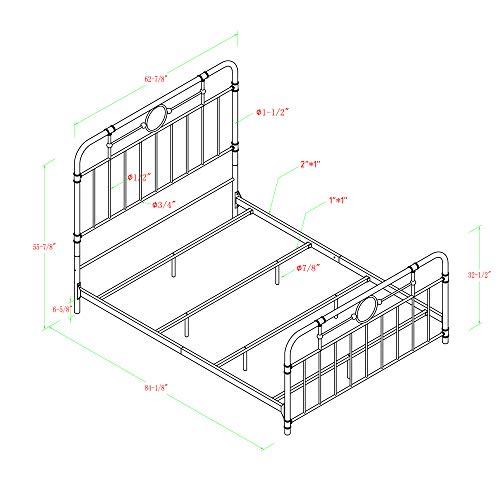 Walker Edison Rustic Farmhouse Wood Queen Metal Headboard Footboard Bed Frame Bedroom White 0 4