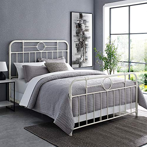 Walker Edison Rustic Farmhouse Wood Queen Metal Headboard Footboard Bed Frame Bedroom White 0
