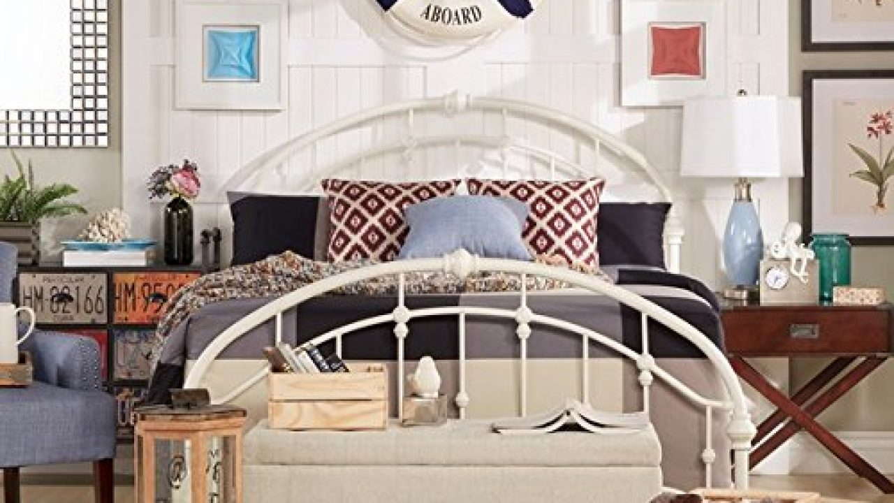 White Antique Vintage Metal Bed Frame Rustic Wrought Cast Iron Curved Round Headboard And Footboard Victorian Old Farmhouse Goals
