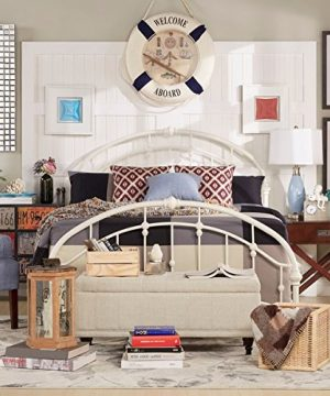 White Antique Vintage Metal Bed Frame Rustic Wrought Cast Iron Curved Round Headboard And Footboard Victorian Old Fashioned Bedroom Furniture Kit Mattress Bedding Not Included Full 0 300x360