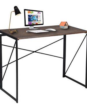 Writing Computer Desk Modern Simple Study Desk Industrial Style Folding Laptop Table For Home Office Notebook Desk Brown Desktop Black Frame 0 300x360
