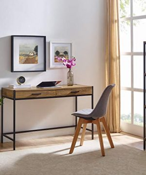 Writing Desk By Caffoz Study Computer Desk Oak Brown Laptop PC Table Workstation With 2 Drawers For Home Office Storage Space Saver 0 300x360