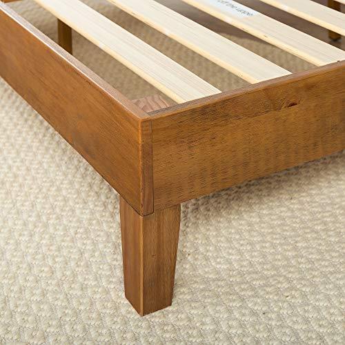 Zinus 12 Inch Deluxe Wood Platform Bed No Boxspring Needed Wood Slat Support Rustic Pine Finish Queen 0 0