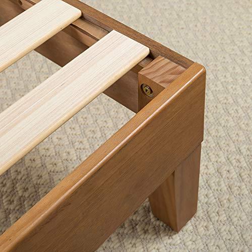 Zinus 12 Inch Deluxe Wood Platform Bed No Boxspring Needed Wood Slat Support Rustic Pine Finish Queen 0 1