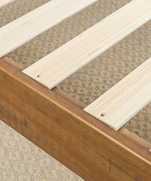 Zinus 12 Inch Deluxe Wood Platform Bed No Boxspring Needed Wood Slat Support Rustic Pine Finish Queen 0 2 300x360