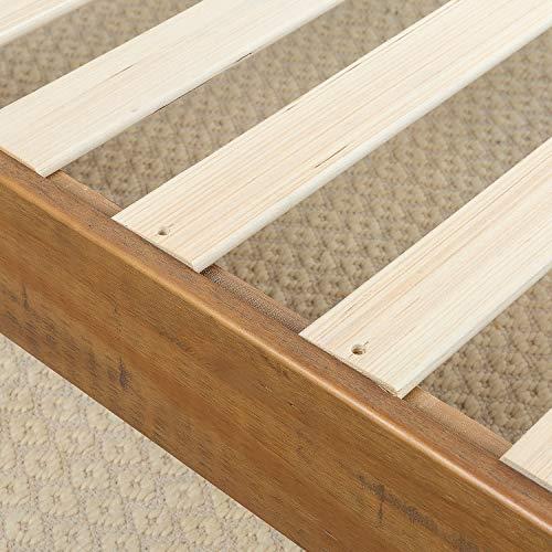 Zinus 12 Inch Deluxe Wood Platform Bed No Boxspring Needed Wood Slat Support Rustic Pine Finish Queen 0 2