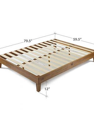 Zinus 12 Inch Deluxe Wood Platform Bed No Boxspring Needed Wood Slat Support Rustic Pine Finish Queen 0 3 300x360