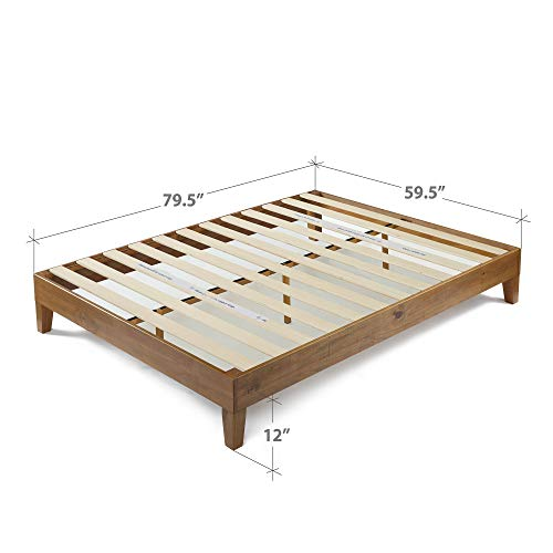Zinus 12 Inch Deluxe Wood Platform Bed No Boxspring Needed Wood Slat Support Rustic Pine Finish Queen 0 3