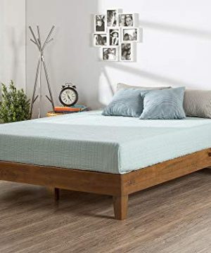 Zinus 12 Inch Deluxe Wood Platform Bed No Boxspring Needed Wood Slat Support Rustic Pine Finish Queen 0 300x360