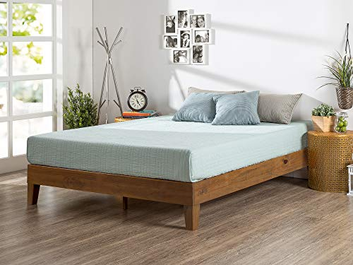 Zinus 12 Inch Deluxe Wood Platform Bed No Boxspring Needed Wood Slat Support Rustic Pine Finish Queen 0