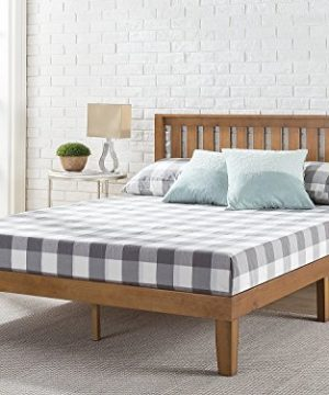 Zinus Alexia 12 Inch Wood Platform Bed With Headboard No Box Spring Needed Wood Slat Support Rustic Pine Finish Queen 0 300x360