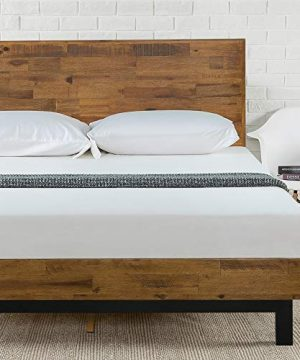 Zinus Tricia Platform Bed Mattress Foundation Box Spring Replacement Brown Queen 0 300x360