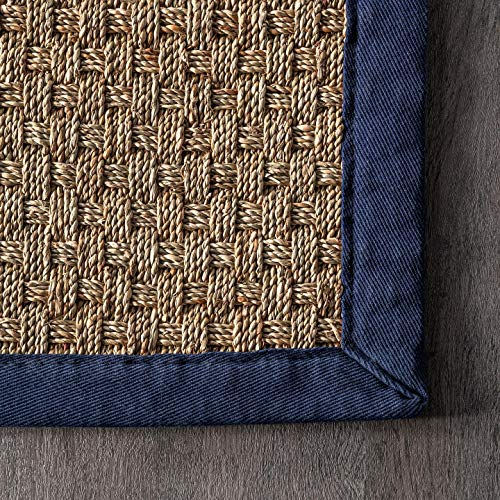 NuLOOM Hesse Seagrass Solid Outdoor Area Rug 9 X 12 Navy 0 1